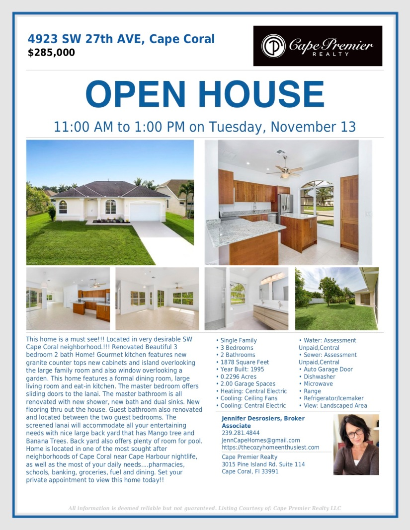 Open House 4923 SW 27th Ave.