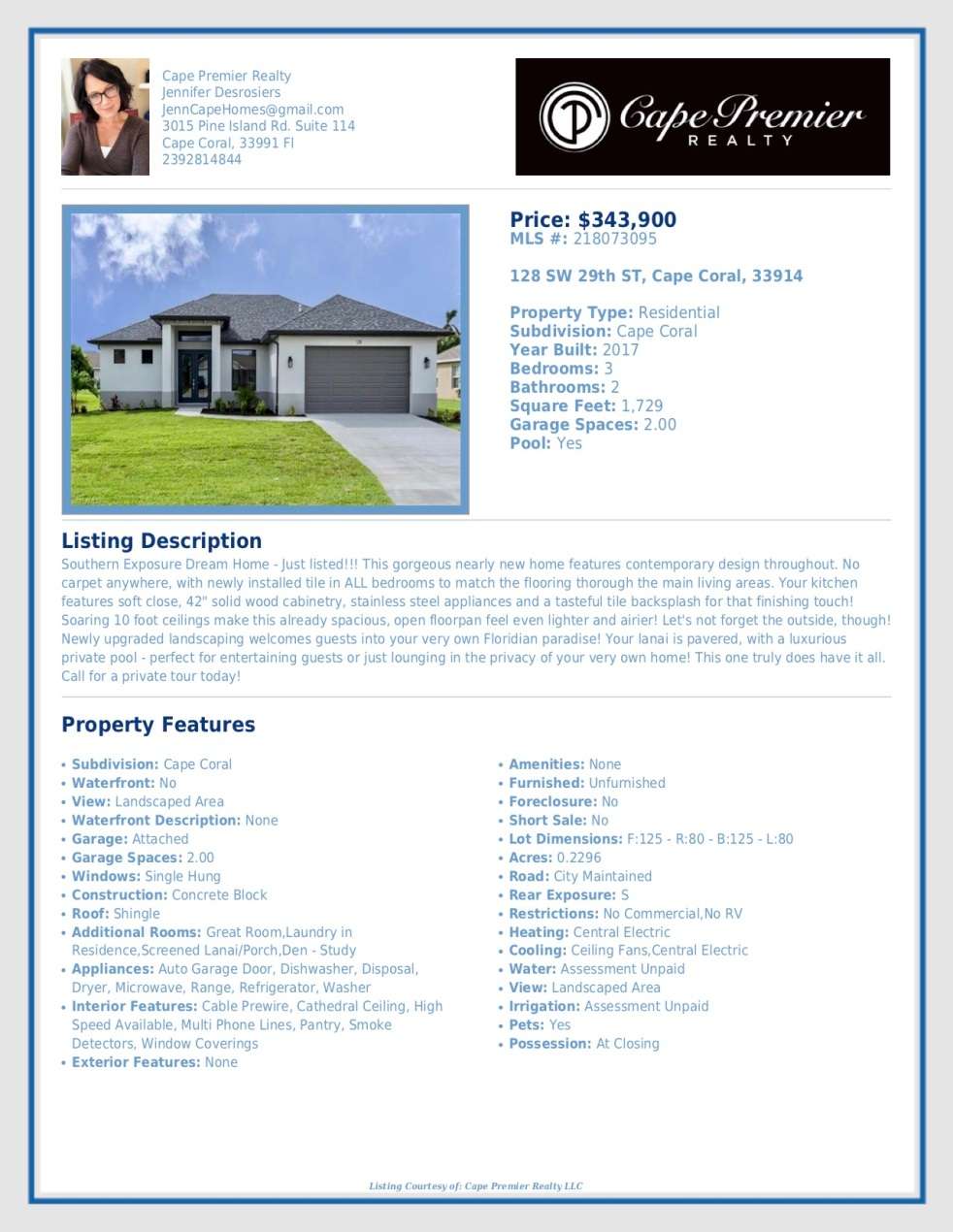 just listed flyer sw 29th st.